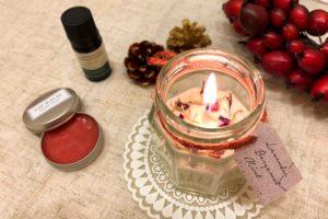 <クラフトレッスン>アロマキャンドル&紅いリップクリーム